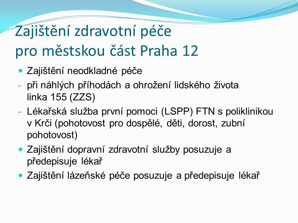Zajištění zdravotní péče pro městskou část Praha 12 Zajištění neodkladné péče - při náhlých příhodách a ohrožení lidského života linka 155 (ZZS) - Lékařská služba první pomoci (LSPP) FTN s poliklinikou v Krči (pohotovost pro dospělé, děti, dorost, zubní pohotovost) Zajištění dopravní zdravotní služby posuzuje a předepisuje lékař Zajištění lázeňské péče posuzuje a předepisuje lékař