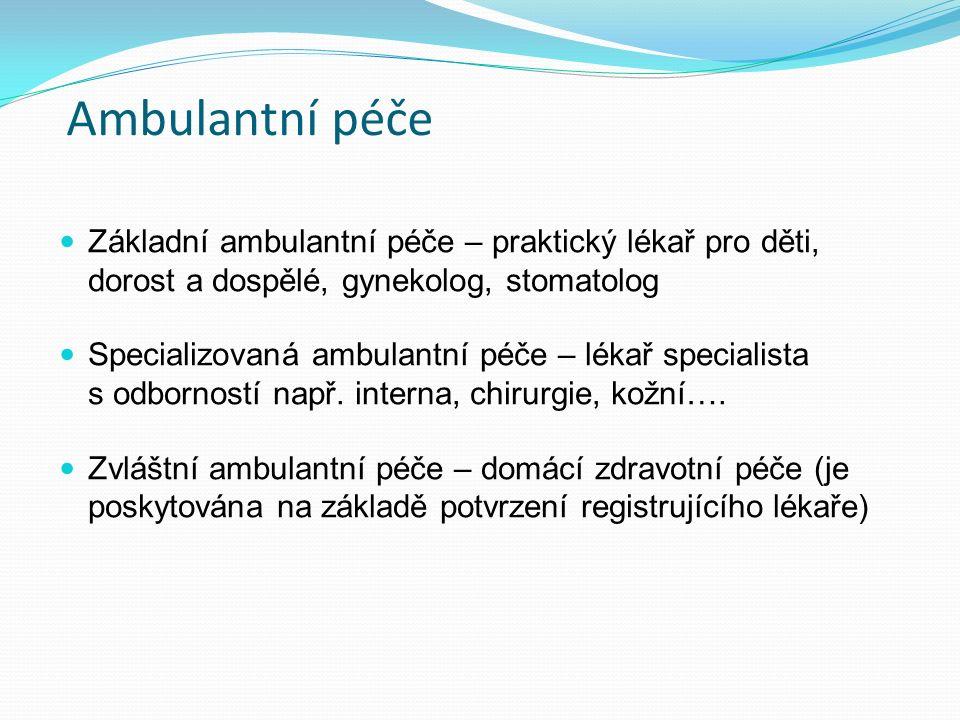 Ambulantní péče Základní ambulantní péče – praktický lékař pro děti, dorost a dospělé, gynekolog, stomatolog Specializovaná ambulantní péče – lékař specialista s odborností např.