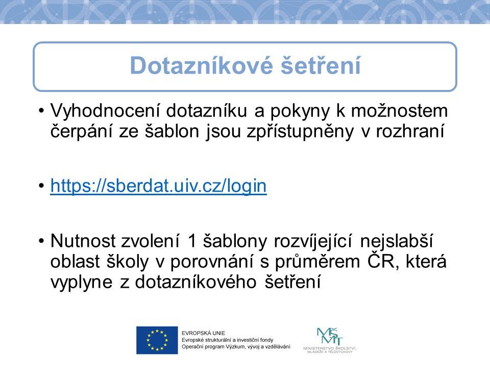 Vyhodnocení dotazníku a pokyny k možnostem čerpání ze šablon jsou zpřístupněny v rozhraní https://sberdat.uiv.cz/login Nutnost zvolení 1 šablony rozvíjející nejslabší oblast školy v porovnání s průměrem ČR, která vyplyne z dotazníkového šetření Dotazníkové šetření