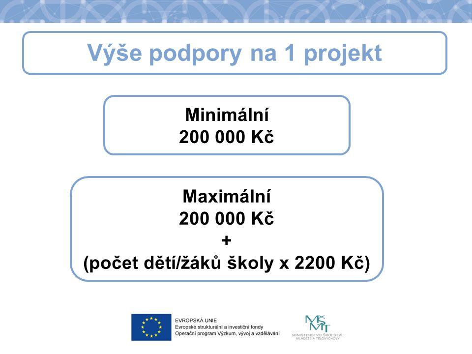 Výše podpory na 1 projekt Minimální 200 000 Kč Maximální 200 000 Kč + (počet dětí/žáků školy x 2200 Kč)