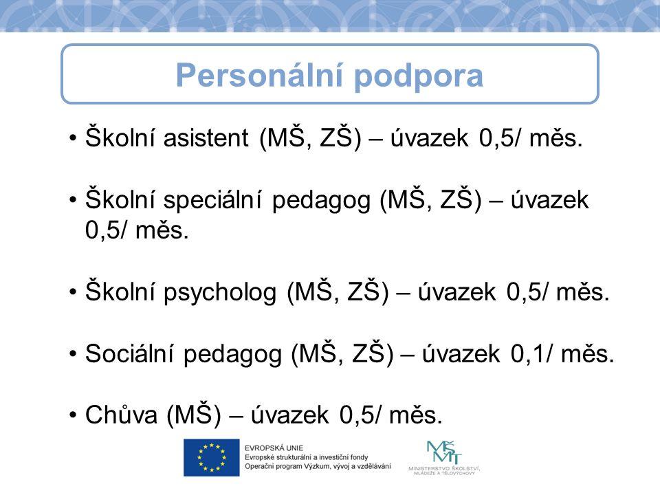 Personální podpora Školní asistent (MŠ, ZŠ) – úvazek 0,5/ měs.