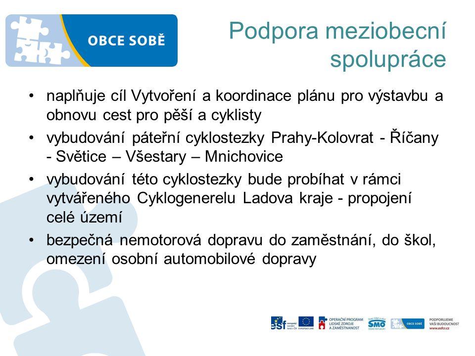Podpora meziobecní spolupráce naplňuje cíl Vytvoření a koordinace plánu pro výstavbu a obnovu cest pro pěší a cyklisty vybudování páteřní cyklostezky Prahy-Kolovrat - Říčany - Světice – Všestary – Mnichovice vybudování této cyklostezky bude probíhat v rámci vytvářeného Cyklogenerelu Ladova kraje - propojení celé území bezpečná nemotorová dopravu do zaměstnání, do škol, omezení osobní automobilové dopravy