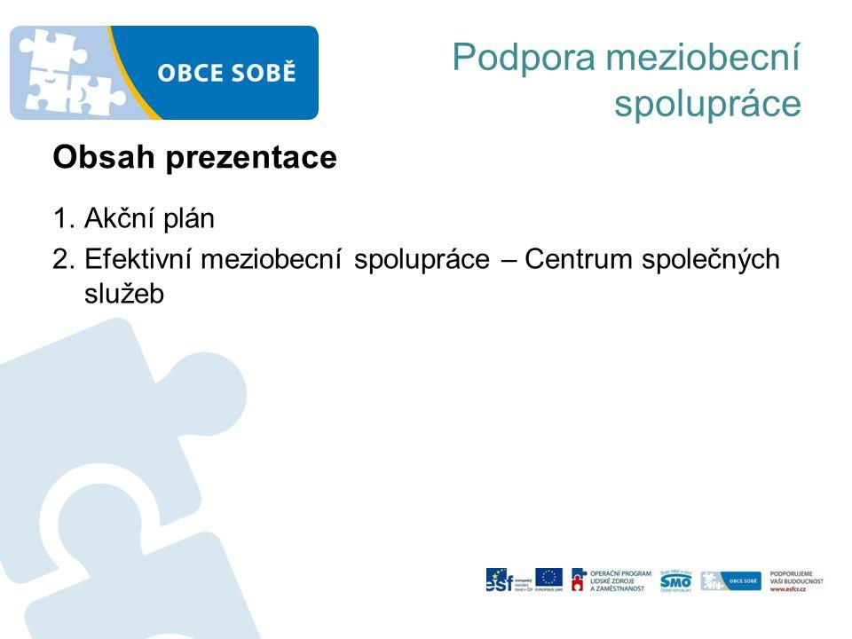 Podpora meziobecní spolupráce 1.Akční plán 2.Efektivní meziobecní spolupráce – Centrum společných služeb Obsah prezentace