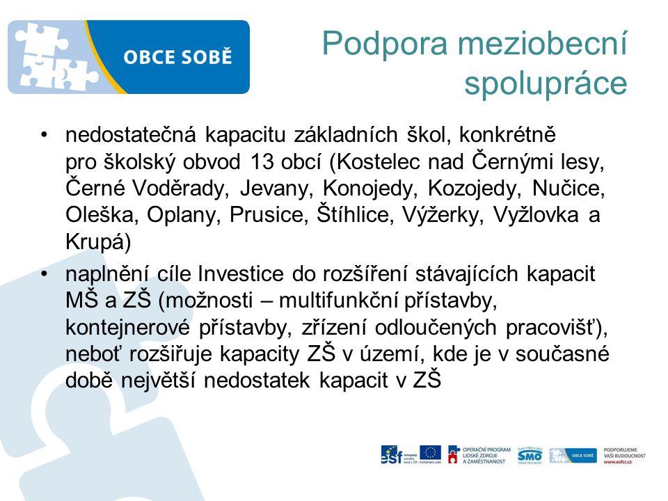 Podpora meziobecní spolupráce nedostatečná kapacitu základních škol, konkrétně pro školský obvod 13 obcí (Kostelec nad Černými lesy, Černé Voděrady, Jevany, Konojedy, Kozojedy, Nučice, Oleška, Oplany, Prusice, Štíhlice, Výžerky, Vyžlovka a Krupá) naplnění cíle Investice do rozšíření stávajících kapacit MŠ a ZŠ (možnosti – multifunkční přístavby, kontejnerové přístavby, zřízení odloučených pracovišť), neboť rozšiřuje kapacity ZŠ v území, kde je v současné době největší nedostatek kapacit v ZŠ