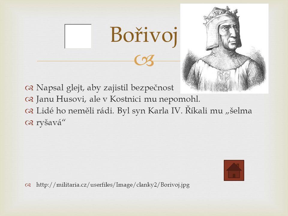   Napsal glejt, aby zajistil bezpečnost  Janu Husovi, ale v Kostnici mu nepomohl.
