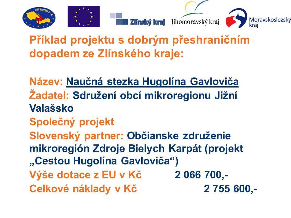 """Příklad projektu s dobrým přeshraničním dopadem ze Zlínského kraje: Název: Naučná stezka Hugolína Gavloviča Žadatel: Sdružení obcí mikroregionu Jižní Valašsko Společný projekt Slovenský partner: Občianske združenie mikroregión Zdroje Bielych Karpát (projekt """"Cestou Hugolína Gavloviča ) Výše dotace z EU v Kč2 066 700,- Celkové náklady v Kč2 755 600,-"""