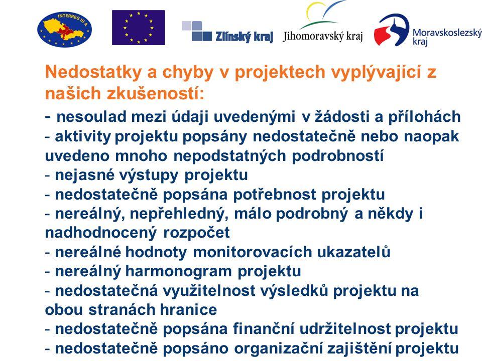 """Základní podmínky a předpoklady úspěchu: - vhodný žadatel a místo realizace projektu v podporovaném území - soulad s prioritou programu, opatřením a podporovanými aktivitami - pochopení """"složitějších podmínek strukturálních fondů EU - co nejlepší přeshraniční efekt projektu - úzká a dobrá spolupráce s přeshraničním partner - zajištěné předfinancování projektu - smysluplný a udržitelný projekt s konkrétními výstupy - kvalitně zpracovaný projekt vč."""