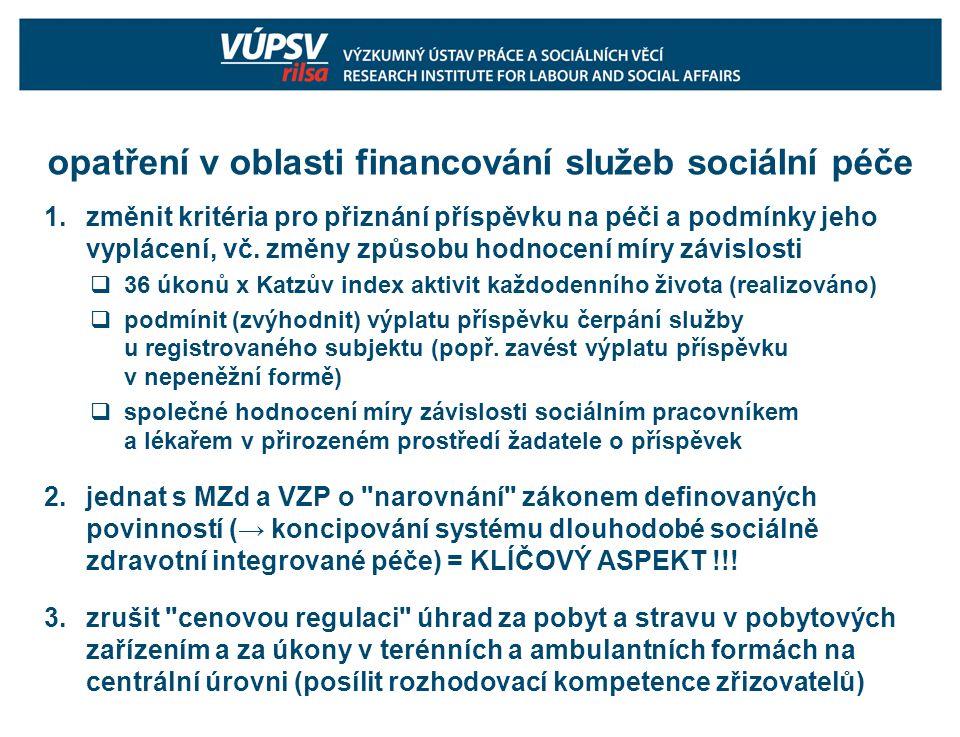 opatření v oblasti financování služeb sociální péče 1.změnit kritéria pro přiznání příspěvku na péči a podmínky jeho vyplácení, vč.