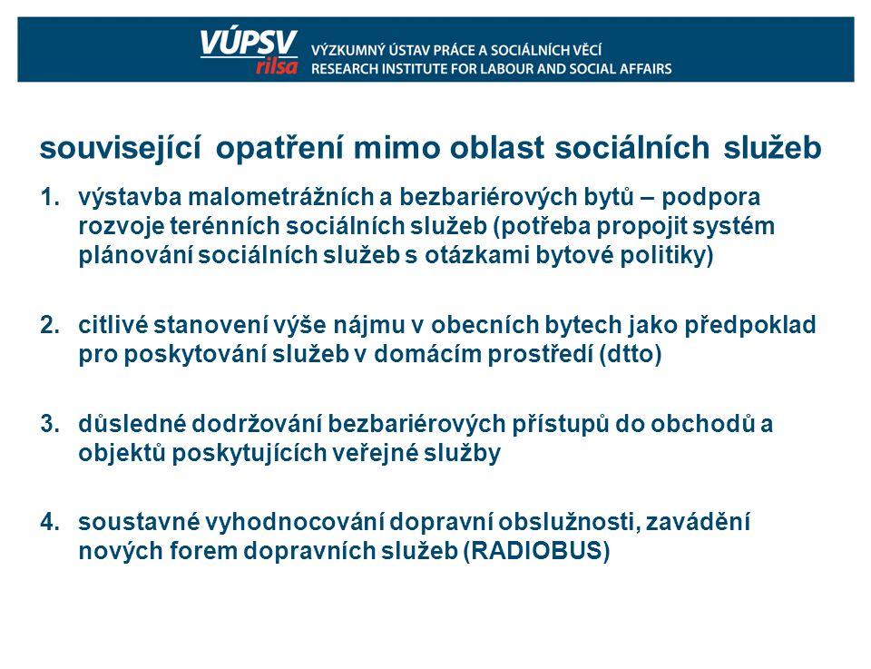 související opatření mimo oblast sociálních služeb 1.výstavba malometrážních a bezbariérových bytů – podpora rozvoje terénních sociálních služeb (potřeba propojit systém plánování sociálních služeb s otázkami bytové politiky) 2.citlivé stanovení výše nájmu v obecních bytech jako předpoklad pro poskytování služeb v domácím prostředí (dtto) 3.důsledné dodržování bezbariérových přístupů do obchodů a objektů poskytujících veřejné služby 4.soustavné vyhodnocování dopravní obslužnosti, zavádění nových forem dopravních služeb (RADIOBUS)