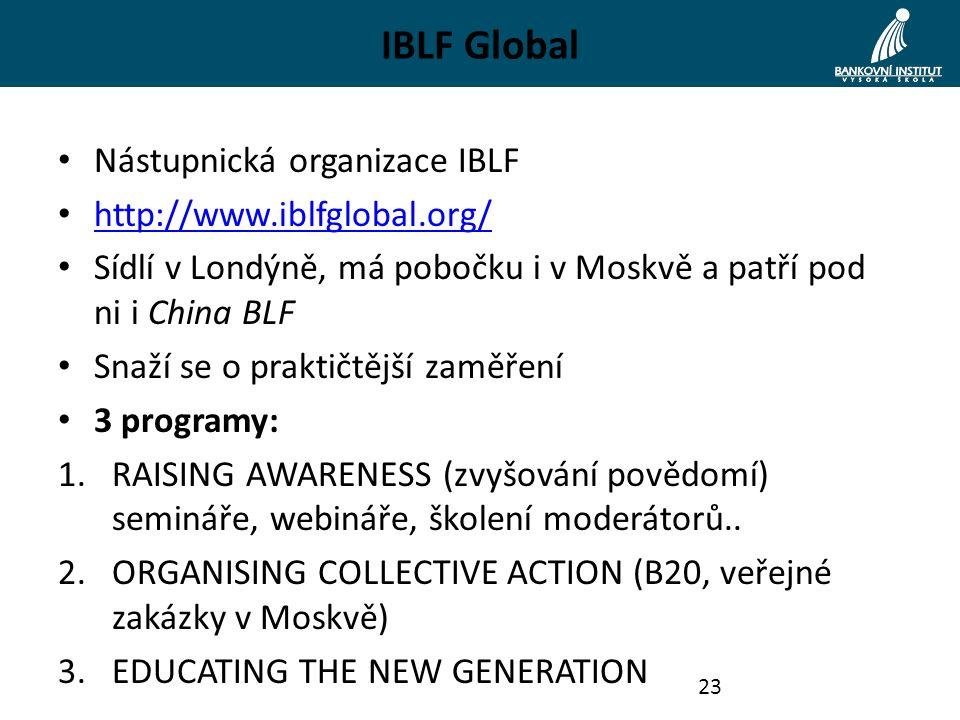 IBLF Global Nástupnická organizace IBLF http://www.iblfglobal.org/ Sídlí v Londýně, má pobočku i v Moskvě a patří pod ni i China BLF Snaží se o praktičtější zaměření 3 programy: 1.RAISING AWARENESS (zvyšování povědomí) semináře, webináře, školení moderátorů..