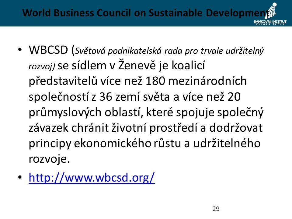 World Business Council on Sustainable Development WBCSD ( Světová podnikatelská rada pro trvale udržitelný rozvoj) se sídlem v Ženevě je koalicí představitelů více než 180 mezinárodních společností z 36 zemí světa a více než 20 průmyslových oblastí, které spojuje společný závazek chránit životní prostředí a dodržovat principy ekonomického růstu a udržitelného rozvoje.