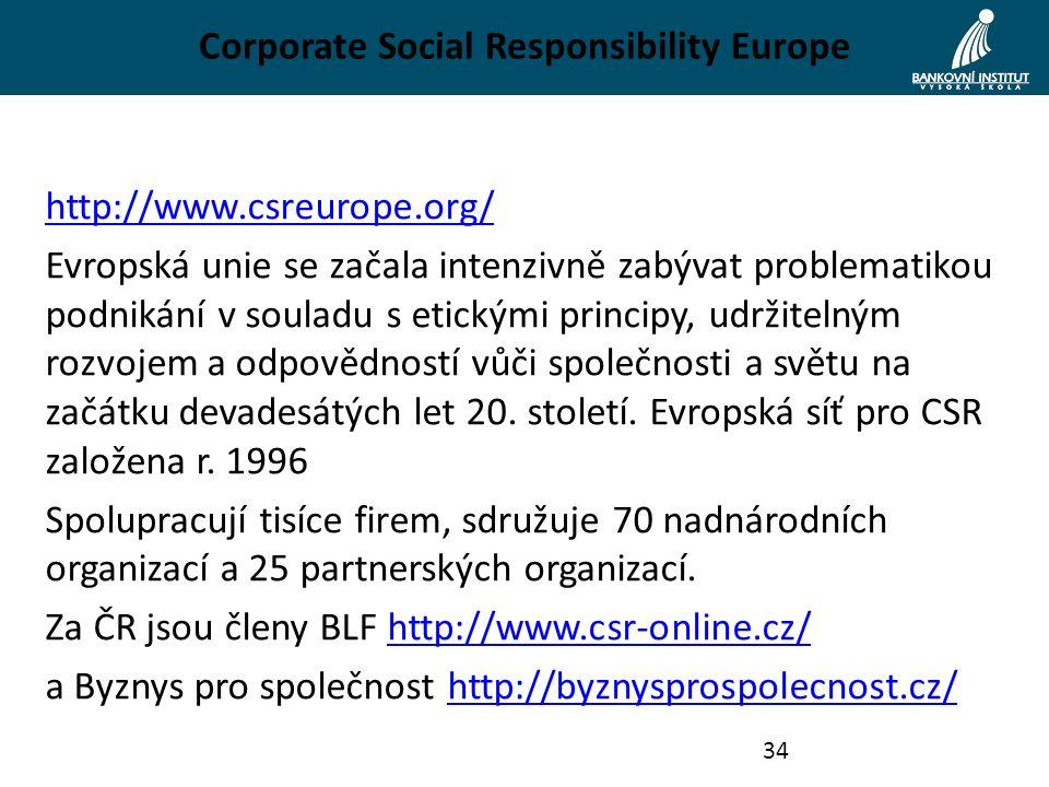 Corporate Social Responsibility Europe http://www.csreurope.org/ Evropská unie se začala intenzivně zabývat problematikou podnikání v souladu s etickými principy, udržitelným rozvojem a odpovědností vůči společnosti a světu na začátku devadesátých let 20.