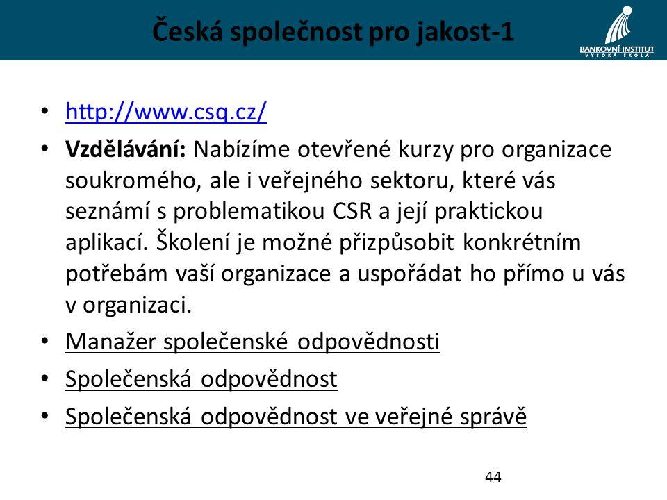 Česká společnost pro jakost-1 http://www.csq.cz/ Vzdělávání: Nabízíme otevřené kurzy pro organizace soukromého, ale i veřejného sektoru, které vás seznámí s problematikou CSR a její praktickou aplikací.