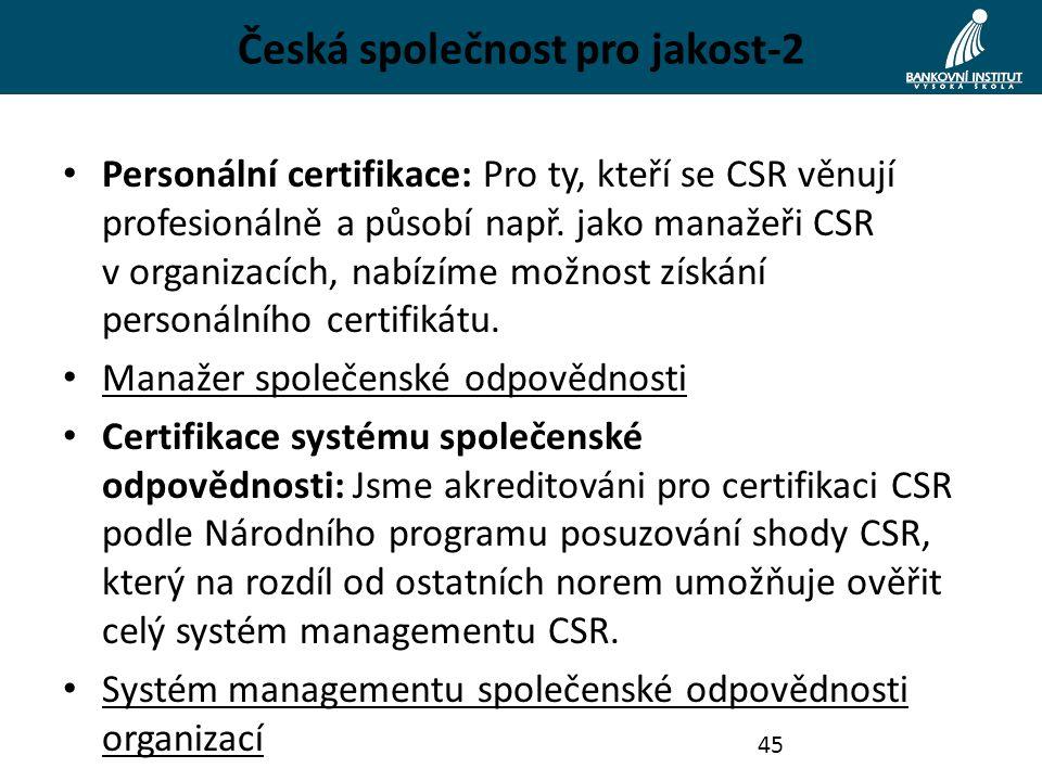 Česká společnost pro jakost-2 Personální certifikace: Pro ty, kteří se CSR věnují profesionálně a působí např.