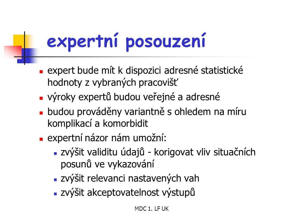 MDC 1. LF UK expertní posouzení expert bude mít k dispozici adresné statistické hodnoty z vybraných pracovišť výroky expertů budou veřejné a adresné b