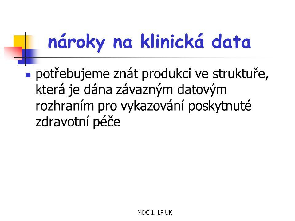 MDC 1. LF UK nároky na klinická data potřebujeme znát produkci ve struktuře, která je dána závazným datovým rozhraním pro vykazování poskytnuté zdravo