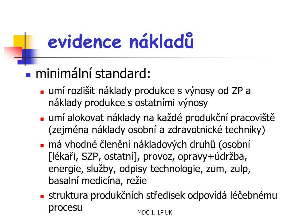 MDC 1. LF UK evidence nákladů minimální standard: umí rozlišit náklady produkce s výnosy od ZP a náklady produkce s ostatními výnosy umí alokovat nákl