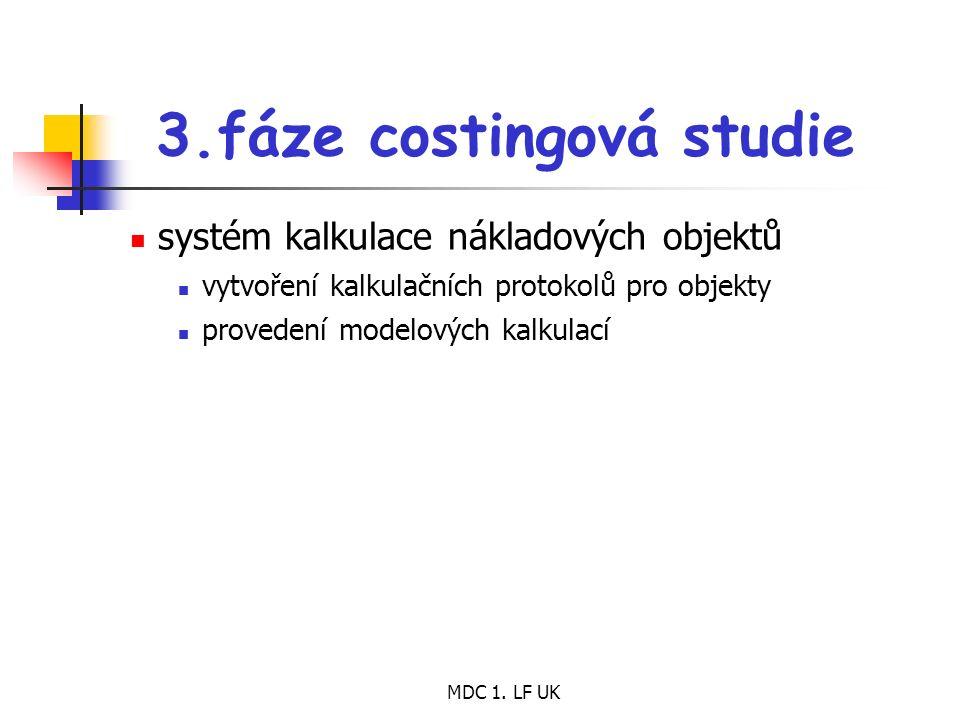 MDC 1. LF UK 3.fáze costingová studie systém kalkulace nákladových objektů vytvoření kalkulačních protokolů pro objekty provedení modelových kalkulací