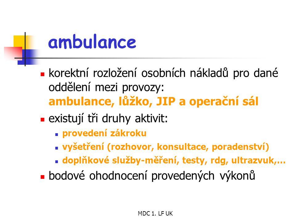 MDC 1. LF UK ambulance korektní rozložení osobních nákladů pro dané oddělení mezi provozy: ambulance, lůžko, JIP a operační sál existují tři druhy akt