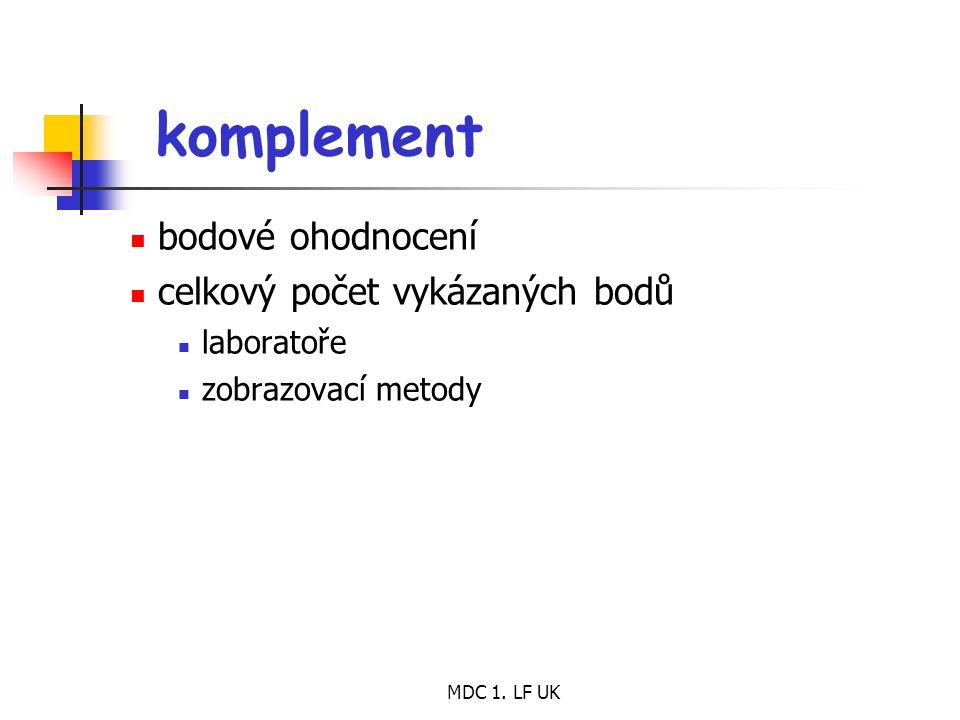 MDC 1. LF UK komplement bodové ohodnocení celkový počet vykázaných bodů laboratoře zobrazovací metody