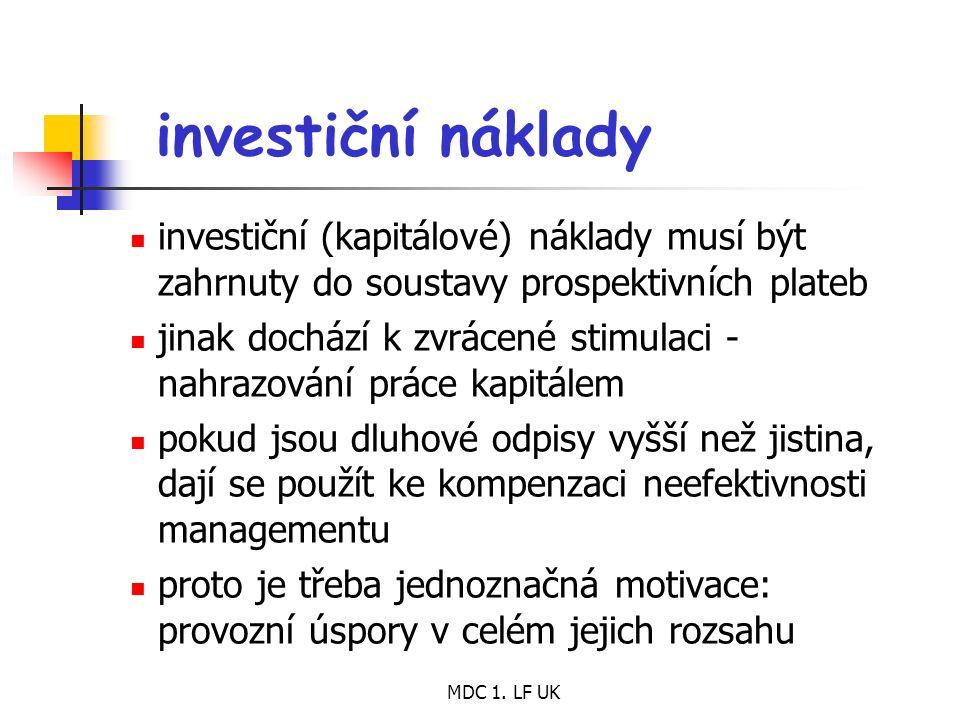 MDC 1. LF UK investiční náklady investiční (kapitálové) náklady musí být zahrnuty do soustavy prospektivních plateb jinak dochází k zvrácené stimulaci