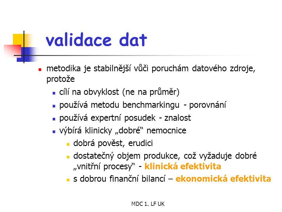 MDC 1. LF UK validace dat metodika je stabilnější vůči poruchám datového zdroje, protože cílí na obvyklost (ne na průměr) používá metodu benchmarking