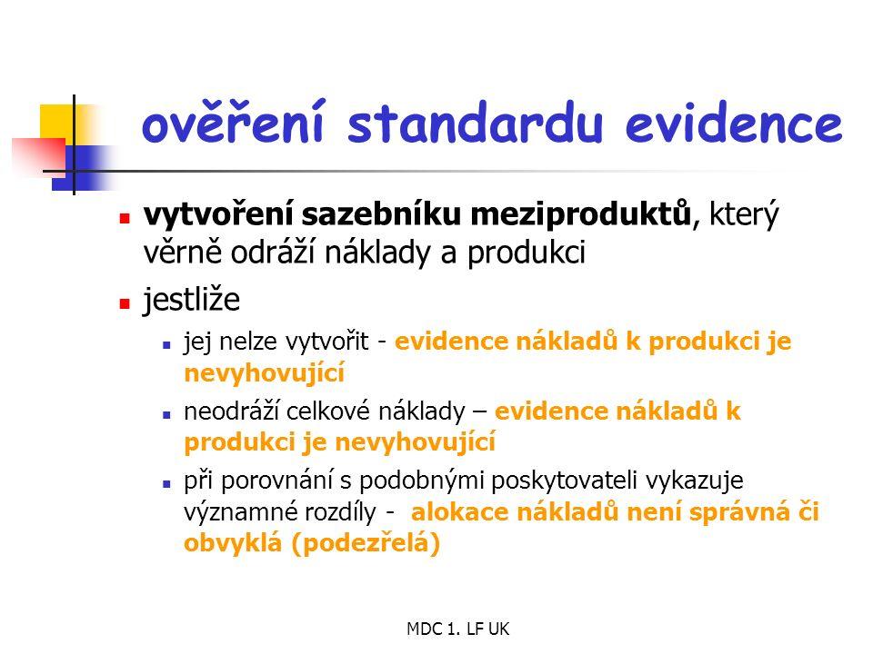 MDC 1. LF UK ověření standardu evidence vytvoření sazebníku meziproduktů, který věrně odráží náklady a produkci jestliže jej nelze vytvořit - evidence