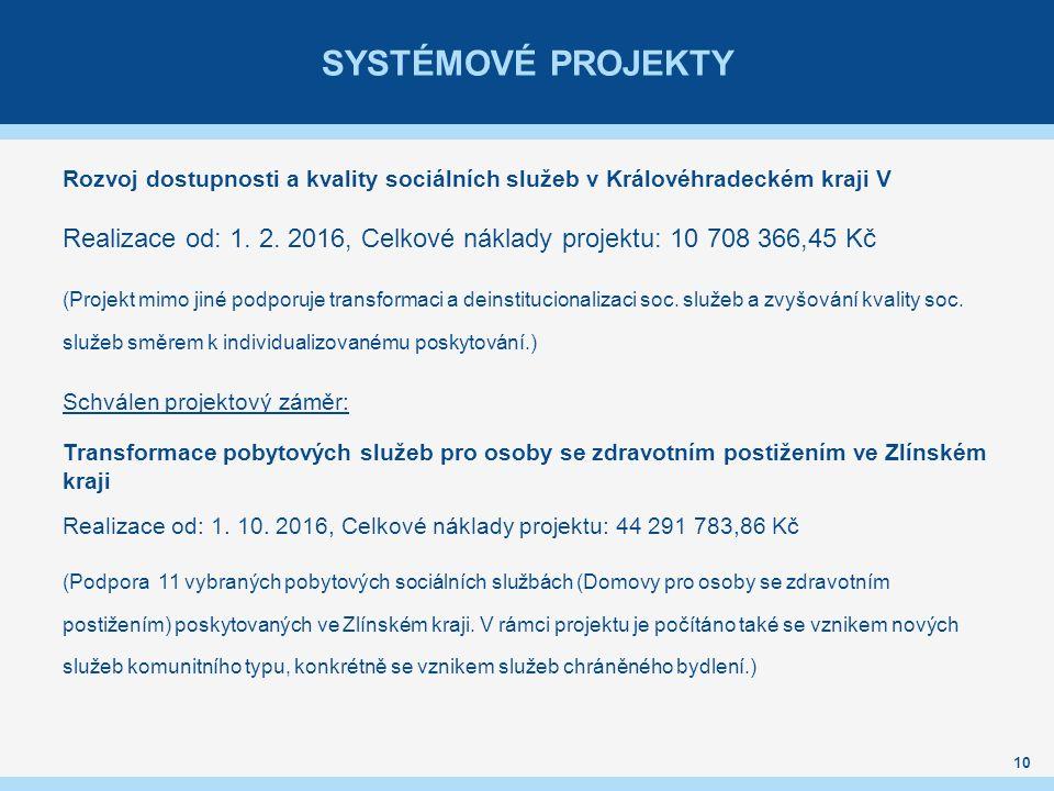 SYSTÉMOVÉ PROJEKTY Rozvoj dostupnosti a kvality sociálních služeb v Královéhradeckém kraji V Realizace od: 1.