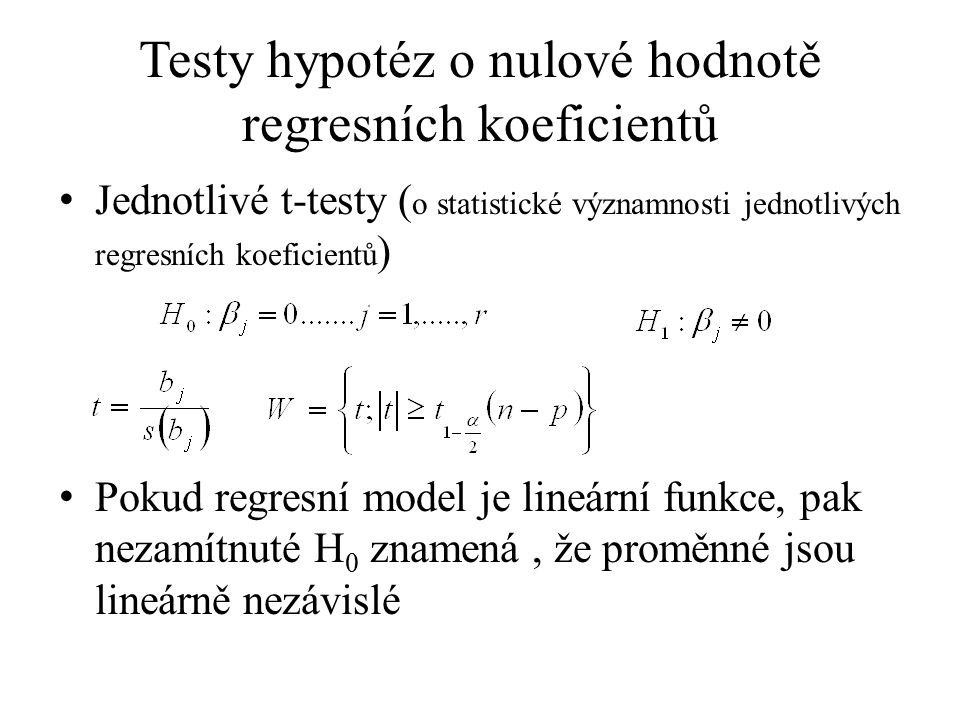 Testy hypotéz o nulové hodnotě regresních koeficientů Jednotlivé t-testy ( o statistické významnosti jednotlivých regresních koeficientů ) Pokud regre