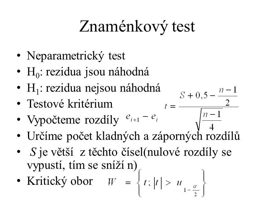 Znaménkový test Neparametrický test H 0 : rezidua jsou náhodná H 1 : rezidua nejsou náhodná Testové kritérium Vypočteme rozdíly Určíme počet kladných