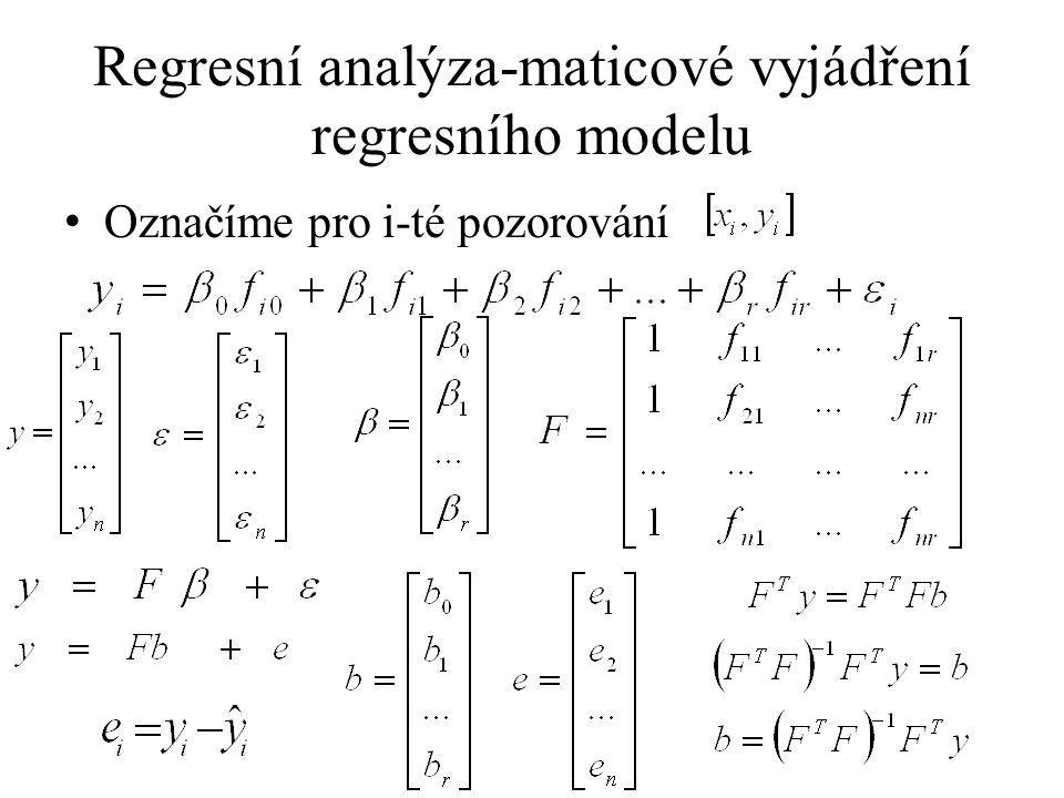 celkový F-test Celkový F-test (o statistické významnosti modelu) Kde je 1-α% kvantil Fisherova rozdělení o p-1 a n-p stupních volnosti Zamítnutí H 0 - prokázání závislosti vysvětlované proměnné na zvolených regresorech (neznamená to, zvolený model je nejvhodnější, ani že je vhodný.