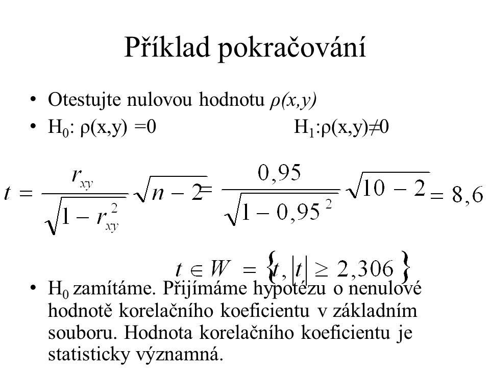 Příklad pokračování Otestujte nulovou hodnotu ρ(x,y) H 0 : ρ(x,y) =0 H 1 :ρ(x,y)≠0 H 0 zamítáme. Přijímáme hypotézu o nenulové hodnotě korelačního koe