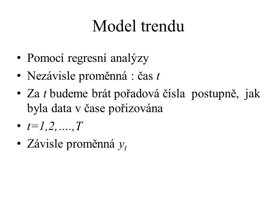 Model trendu Pomocí regresní analýzy Nezávisle proměnná : čas t Za t budeme brát pořadová čísla postupně, jak byla data v čase pořizována t=1,2,….,T Z