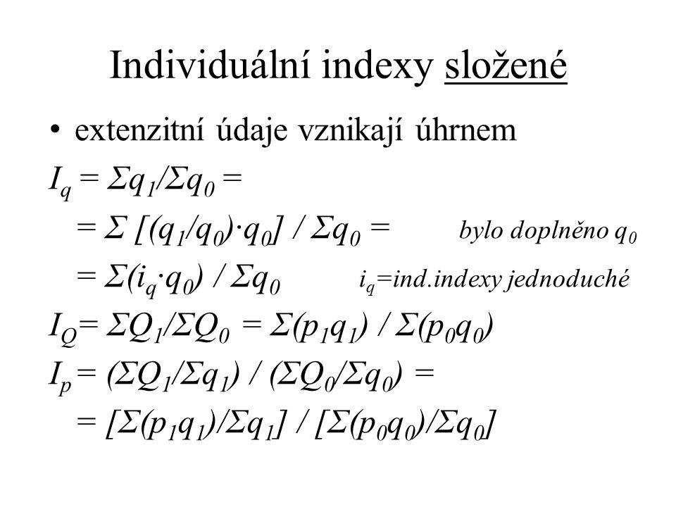 Individuální indexy složené extenzitní údaje vznikají úhrnem I q = Σq 1 /Σq 0 = = Σ [(q 1 /q 0 )·q 0 ] / Σq 0 = bylo doplněno q 0 = Σ(i q ·q 0 ) / Σq