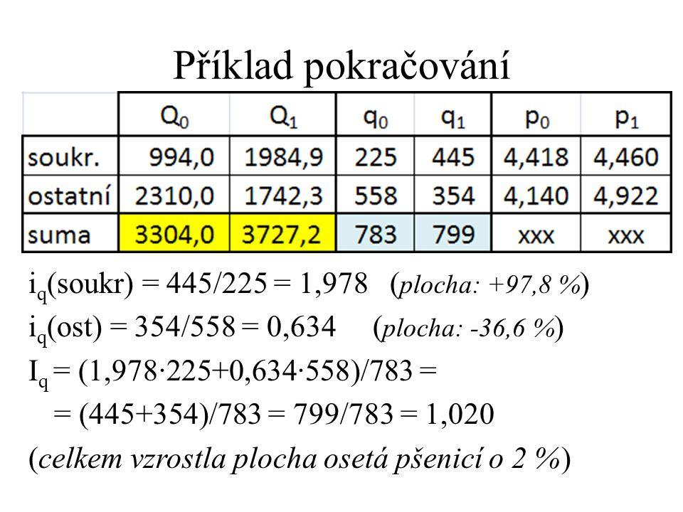 Příklad pokračování i q (soukr) = 445/225 = 1,978 ( plocha: +97,8 % ) i q (ost) = 354/558 = 0,634 ( plocha: -36,6 % ) I q = (1,978·225+0,634·558)/783