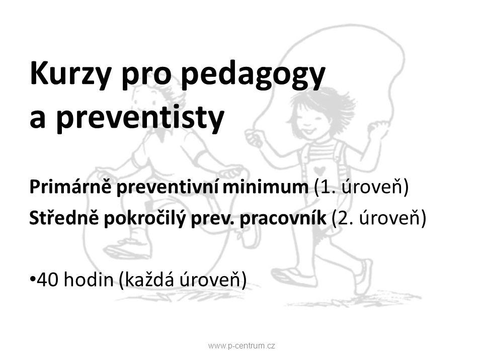 Kurzy pro pedagogy a preventisty Primárně preventivní minimum (1. úroveň) Středně pokročilý prev. pracovník (2. úroveň) 40 hodin (každá úroveň) www.p-