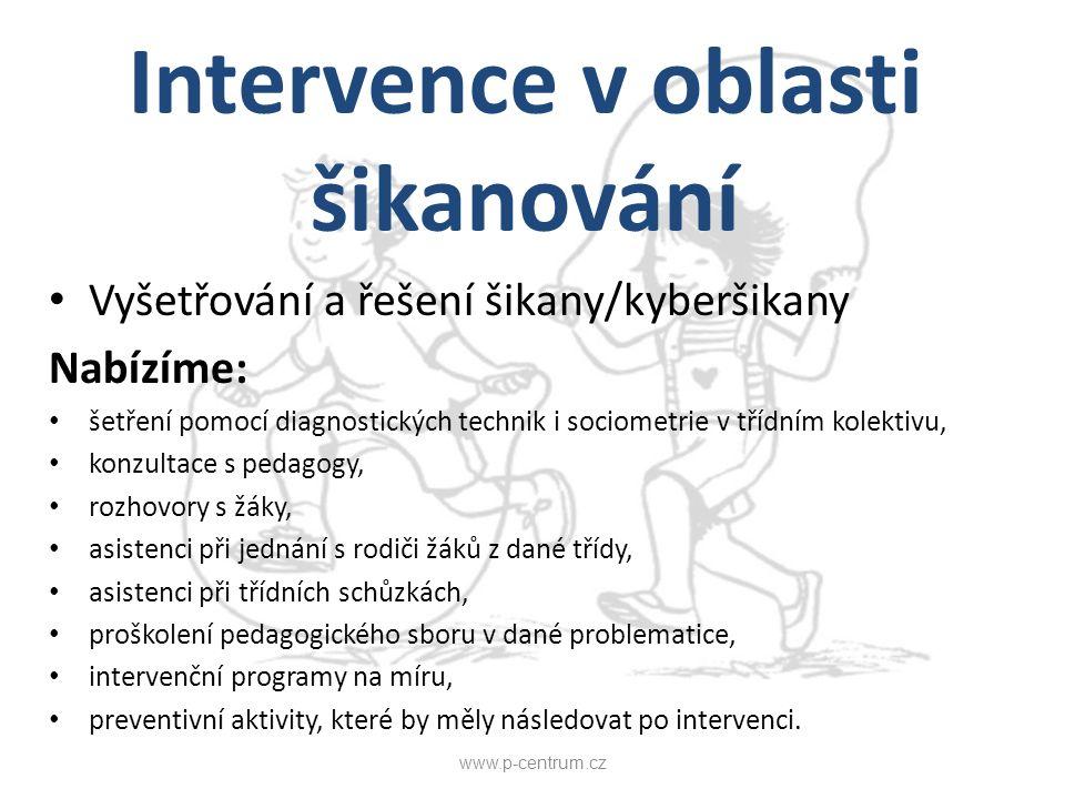 Intervence v oblasti šikanování Vyšetřování a řešení šikany/kyberšikany Nabízíme: šetření pomocí diagnostických technik i sociometrie v třídním kolekt