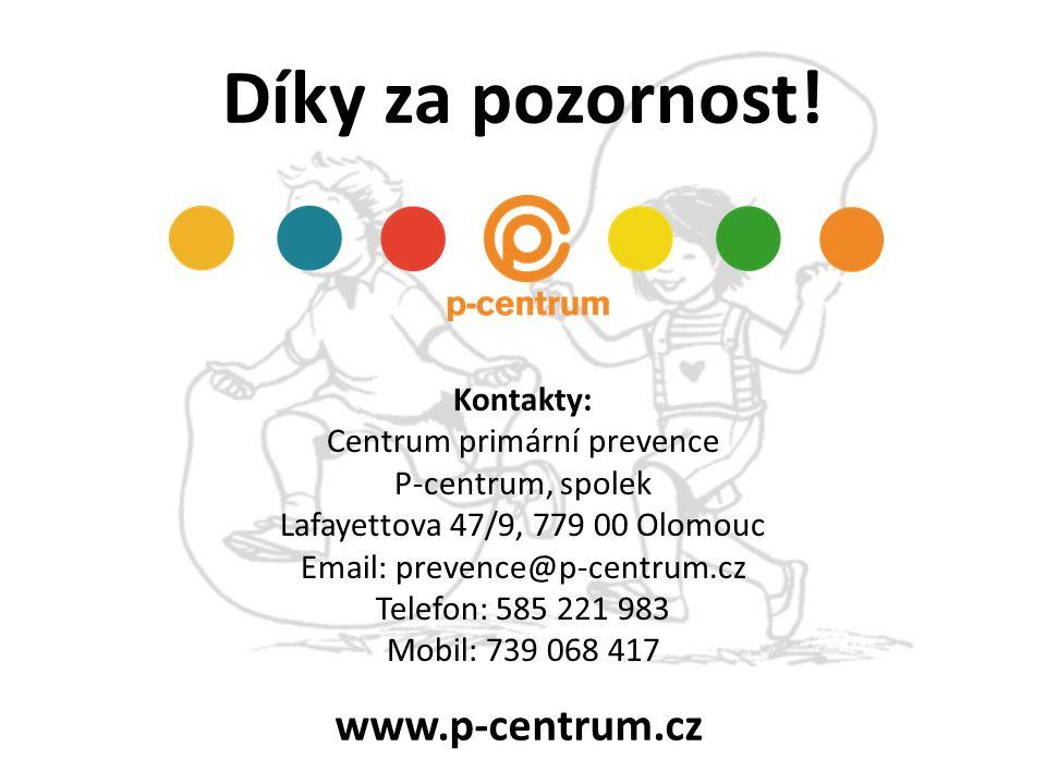 Díky za pozornost! Kontakty: Centrum primární prevence P-centrum, spolek Lafayettova 47/9, 779 00 Olomouc Email: prevence@p-centrum.cz Telefon: 585 22