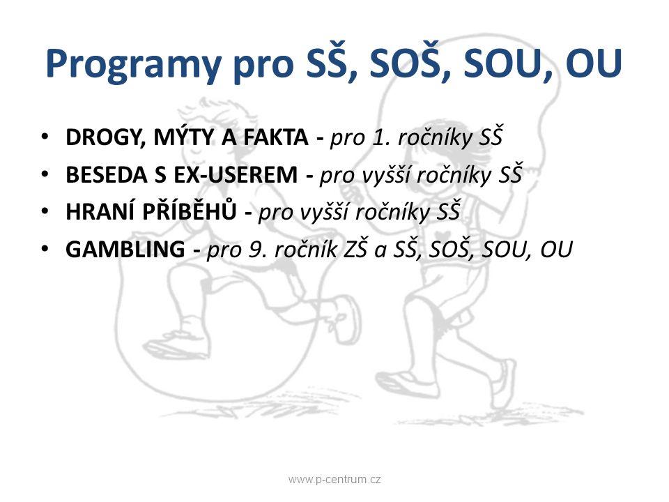 Programy pro SŠ, SOŠ, SOU, OU DROGY, MÝTY A FAKTA - pro 1. ročníky SŠ BESEDA S EX-USEREM - pro vyšší ročníky SŠ HRANÍ PŘÍBĚHŮ - pro vyšší ročníky SŠ G