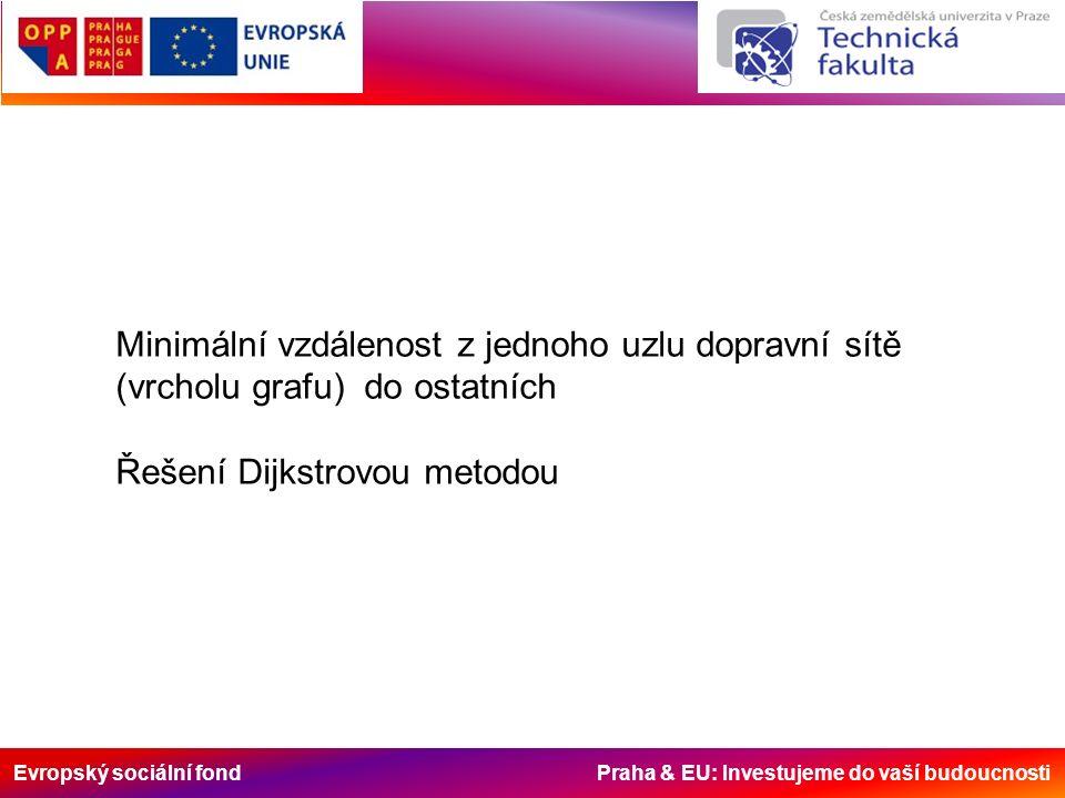 Evropský sociální fond Praha & EU: Investujeme do vaší budoucnosti Minimální vzdálenost z jednoho uzlu dopravní sítě (vrcholu grafu) do ostatních Řešení Dijkstrovou metodou