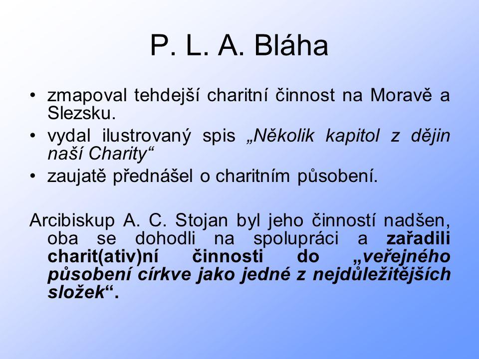 P. L. A. Bláha zmapoval tehdejší charitní činnost na Moravě a Slezsku.