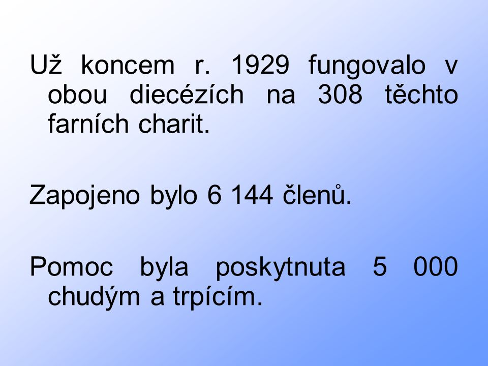 Už koncem r. 1929 fungovalo v obou diecézích na 308 těchto farních charit.