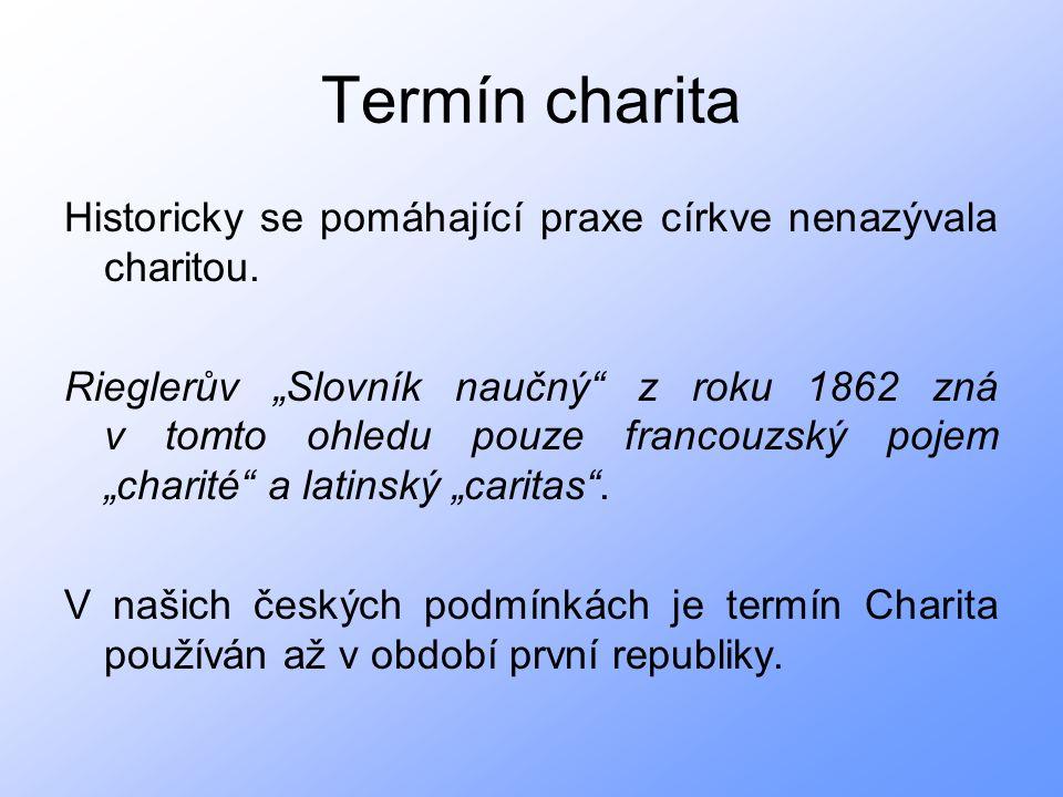 Termín charita Historicky se pomáhající praxe církve nenazývala charitou.