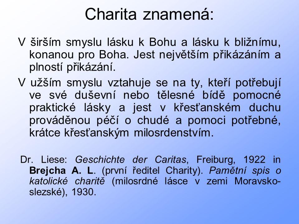 Charita znamená: V širším smyslu lásku k Bohu a lásku k bližnímu, konanou pro Boha.