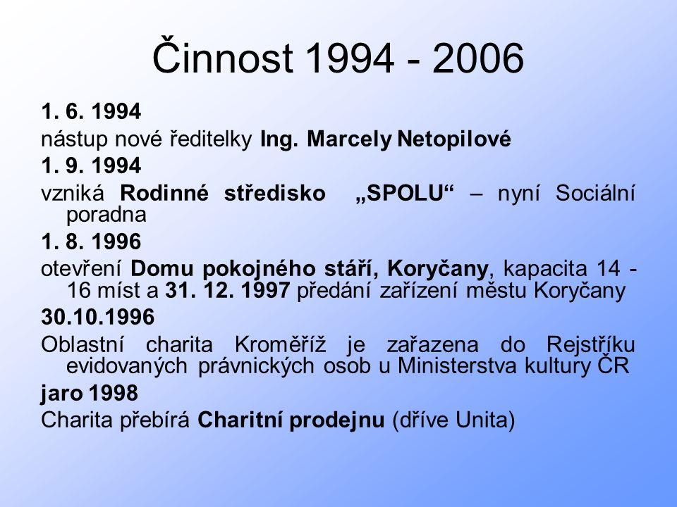 Činnost 1994 - 2006 1. 6. 1994 nástup nové ředitelky Ing.
