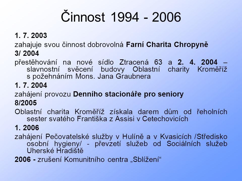 Činnost 1994 - 2006 1. 7.
