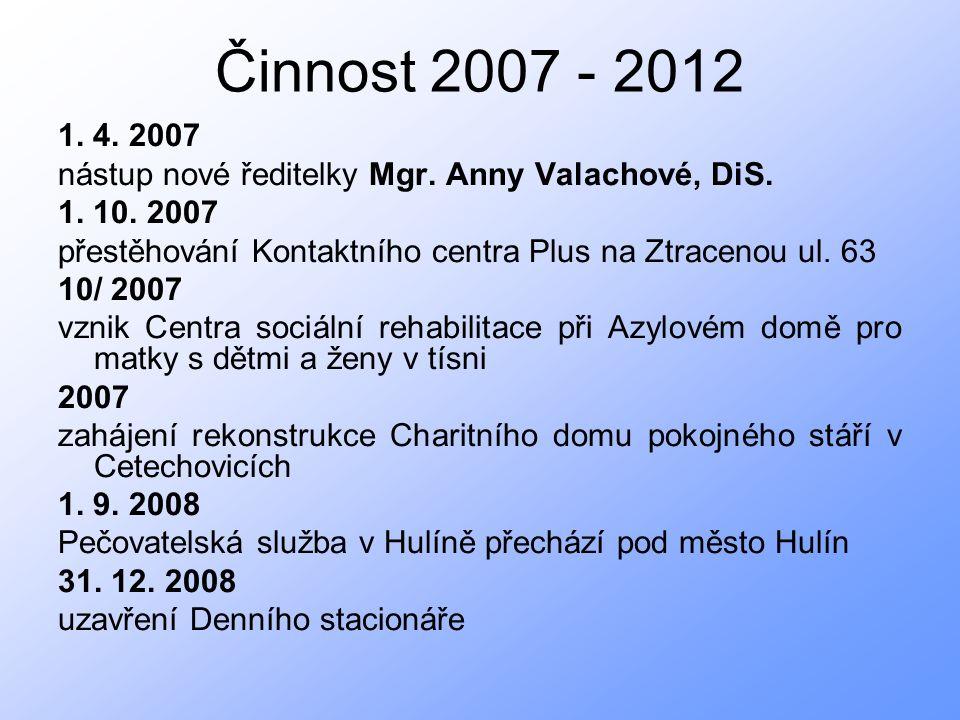 Činnost 2007 - 2012 1. 4. 2007 nástup nové ředitelky Mgr.