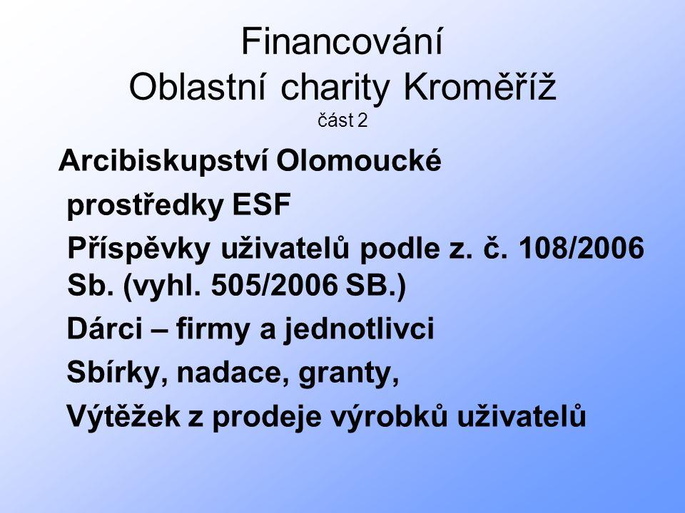 Financování Oblastní charity Kroměříž část 2 Arcibiskupství Olomoucké prostředky ESF Příspěvky uživatelů podle z.