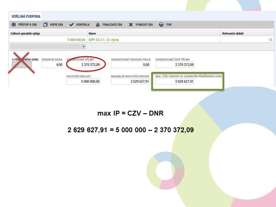 max IP = CZV – DNR 2 629 627,91 = 5 000 000 – 2 370 372,09