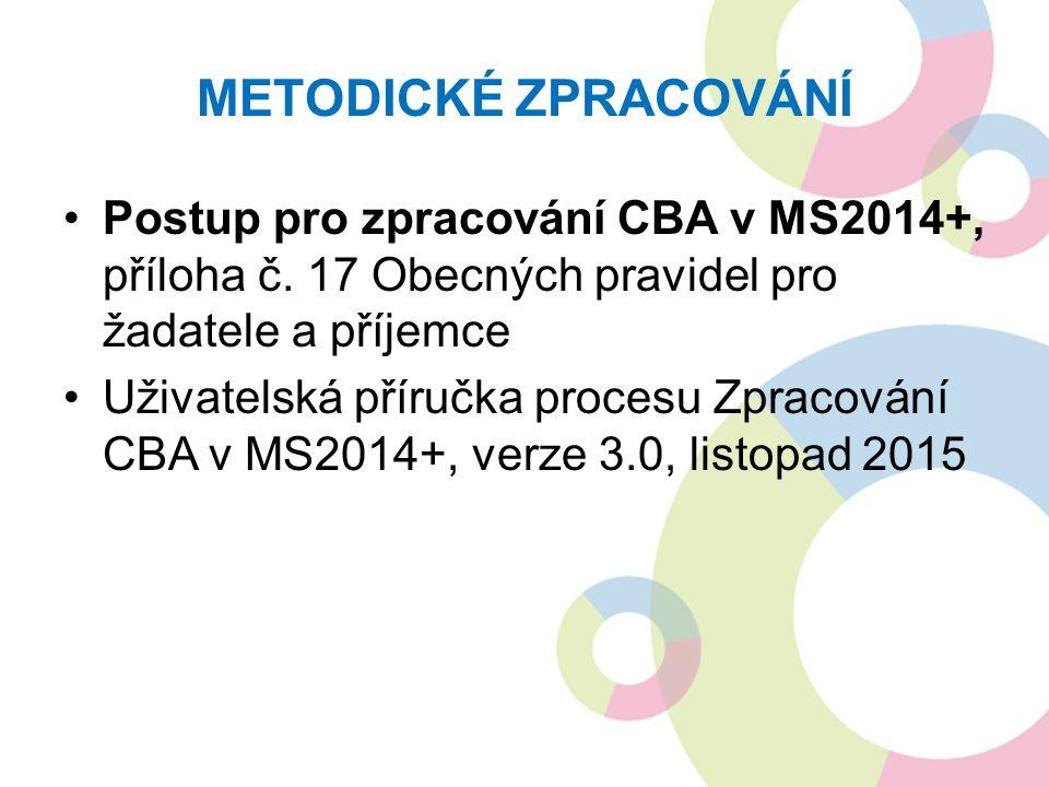 METODICKÉ ZPRACOVÁNÍ Postup pro zpracování CBA v MS2014+, příloha č.